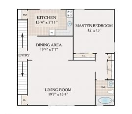 1 Bedroom 1 Bathroom. 725 sq. ft.