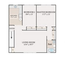 2 Bedroom 1 Bathroom. 815-925 sq. ft.