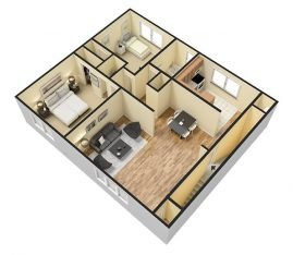 3D 2 Bedroom 1 Bathroom. 815-925 sq. ft.