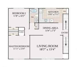2 Bedroom Deluxe 1 Bathroom. 925 sq. ft.