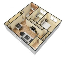 3D 2 Bedroom Deluxe 1 Bathroom. 925 sq. ft.
