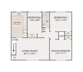 3 Bedroom 1 Bathroom. 988 sq. ft.