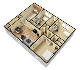 3D 3 Bedroom 1 Bathroom. 988 sq. ft.